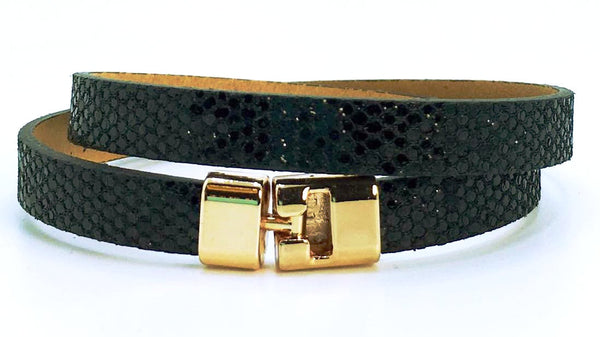 Double T-Bar Bracelet Black Glitter Leather
