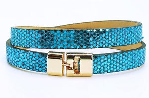 Double T-Bar Bracelet Blue Glitter Leather