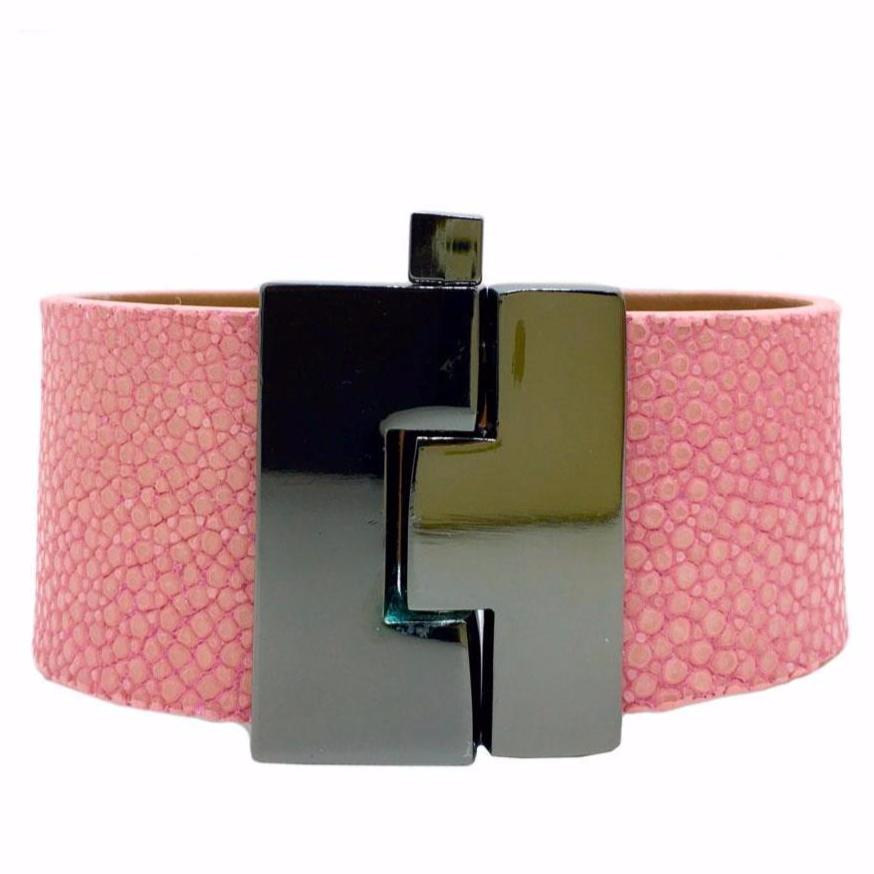 Wide Bubblegum Stingray Jigsaw Cuff