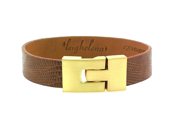 Single Jigsaw Bracelet Cognac Lizard