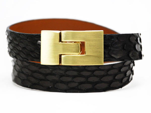 Double Jigsaw Bracelet Black Anaconda
