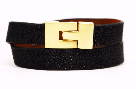 Double Jigsaw Bracelet Black Stingray
