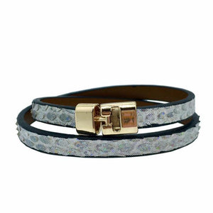 Double T-Bar Bracelet Disco Python
