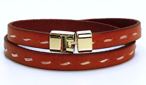 Double T-Bar Bracelet Red Stitch Leather