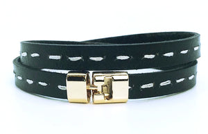Double T-Bar Bracelet Black Stitch Leather