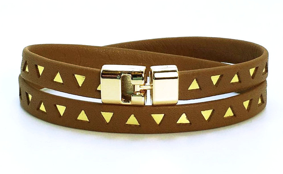 Double T-Bar Bracelet Brown and Gold Triangle Leather