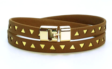 Sale Double T-Bar Bracelet Brown and Gold Triangle Leather