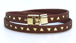 Double T-Bar Bracelet Plum and Gold Triangle Leather