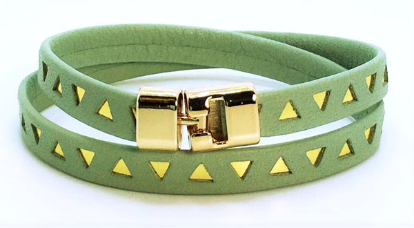 Double T-Bar Bracelet Sage and Gold Triangle Leather