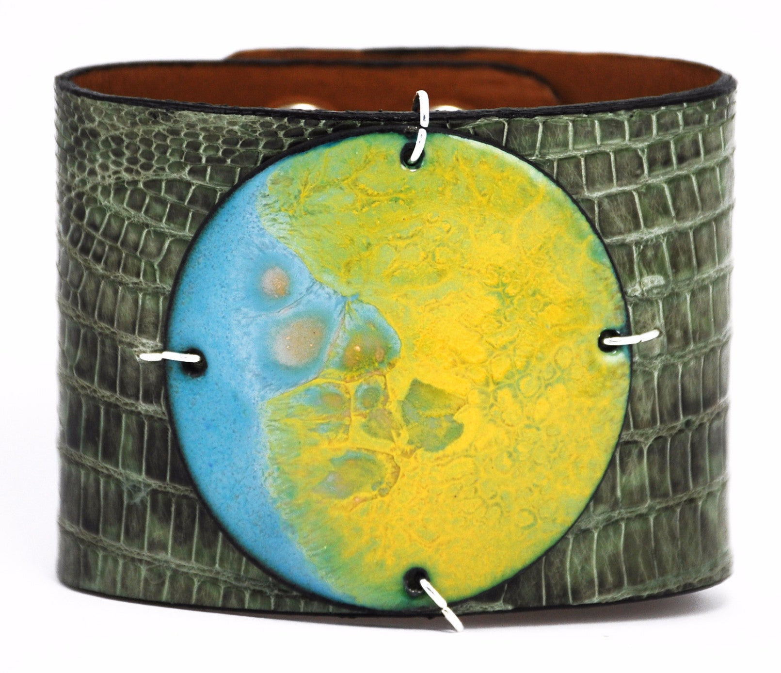 Grasshopper Fields on Green Lizard Wide Enamel Cuff