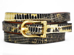 SALE! Triple H Bar Bracelet Beige Marked Lizard