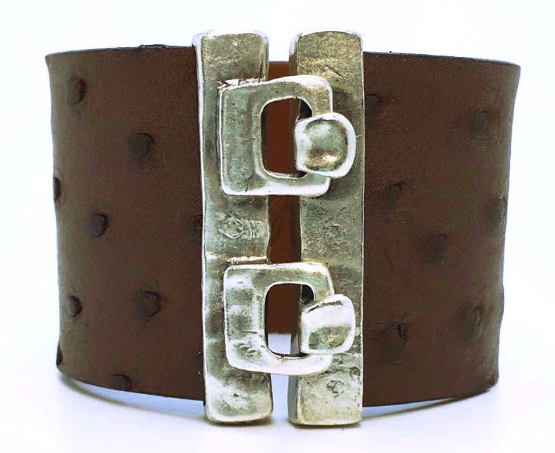 SALE Wide Hook Eye Cuff - Chocolate Ostrich