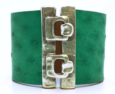 Wide Hook Eye Cuff - Jade Ostrich