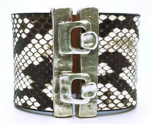 Wide Hook Eye Cuff - Natural Python