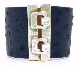 SALE Wide Hook Eye Cuff Navy Ostrich