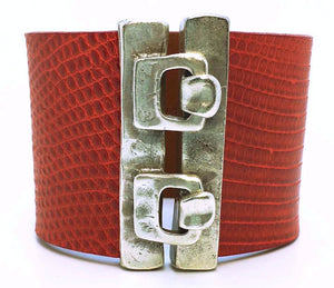 Wide Hook Eye Cuff - Red Lizard