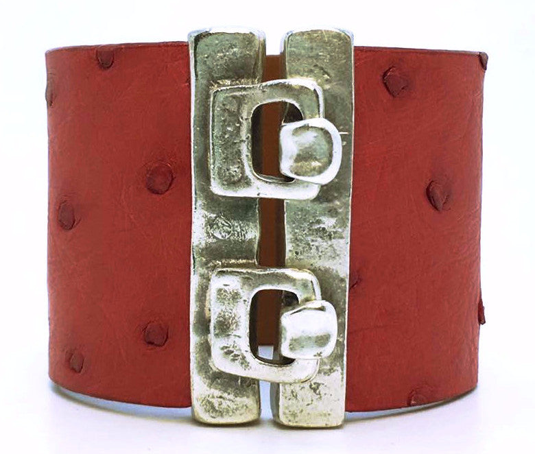 SALE Wide Hook Eye Cuff - Red Ostrich