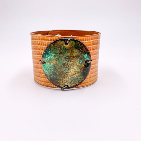 Green multi-colored enamel on Camel Lizard skin wide Enamel Cuff