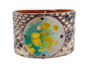Turquoise multi-colored enamel on natural python Enamel Cuff