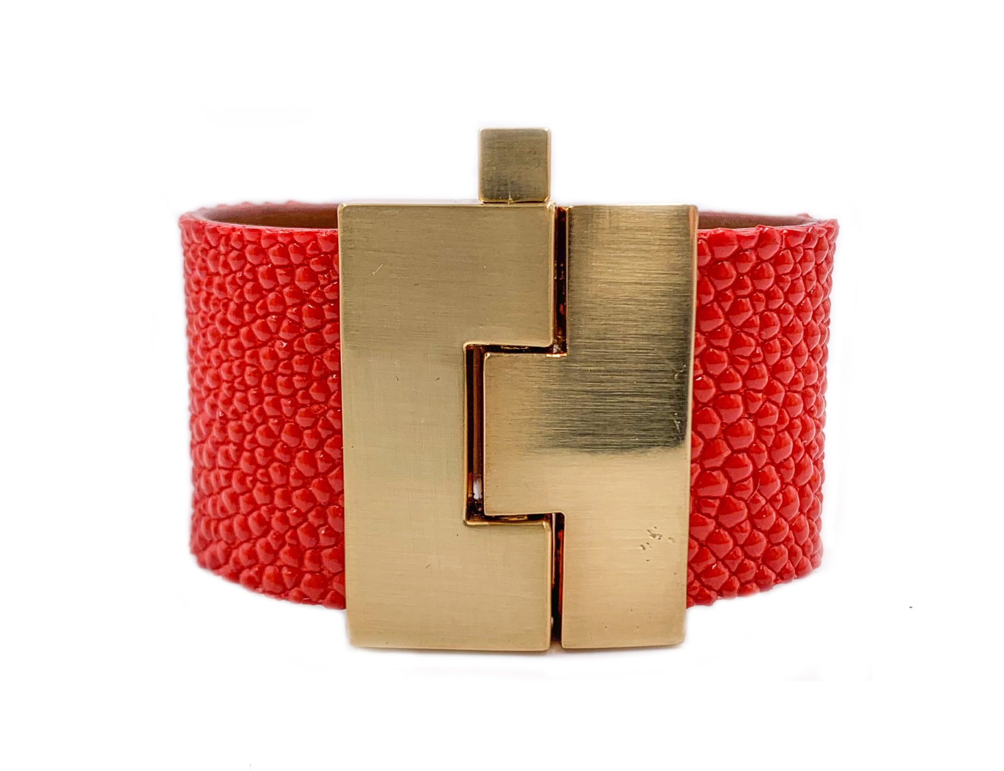 Wide Tomato Stingray Jigsaw Cuff