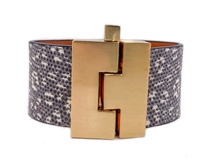 Wide Ring Lizard Jigsaw Cuff
