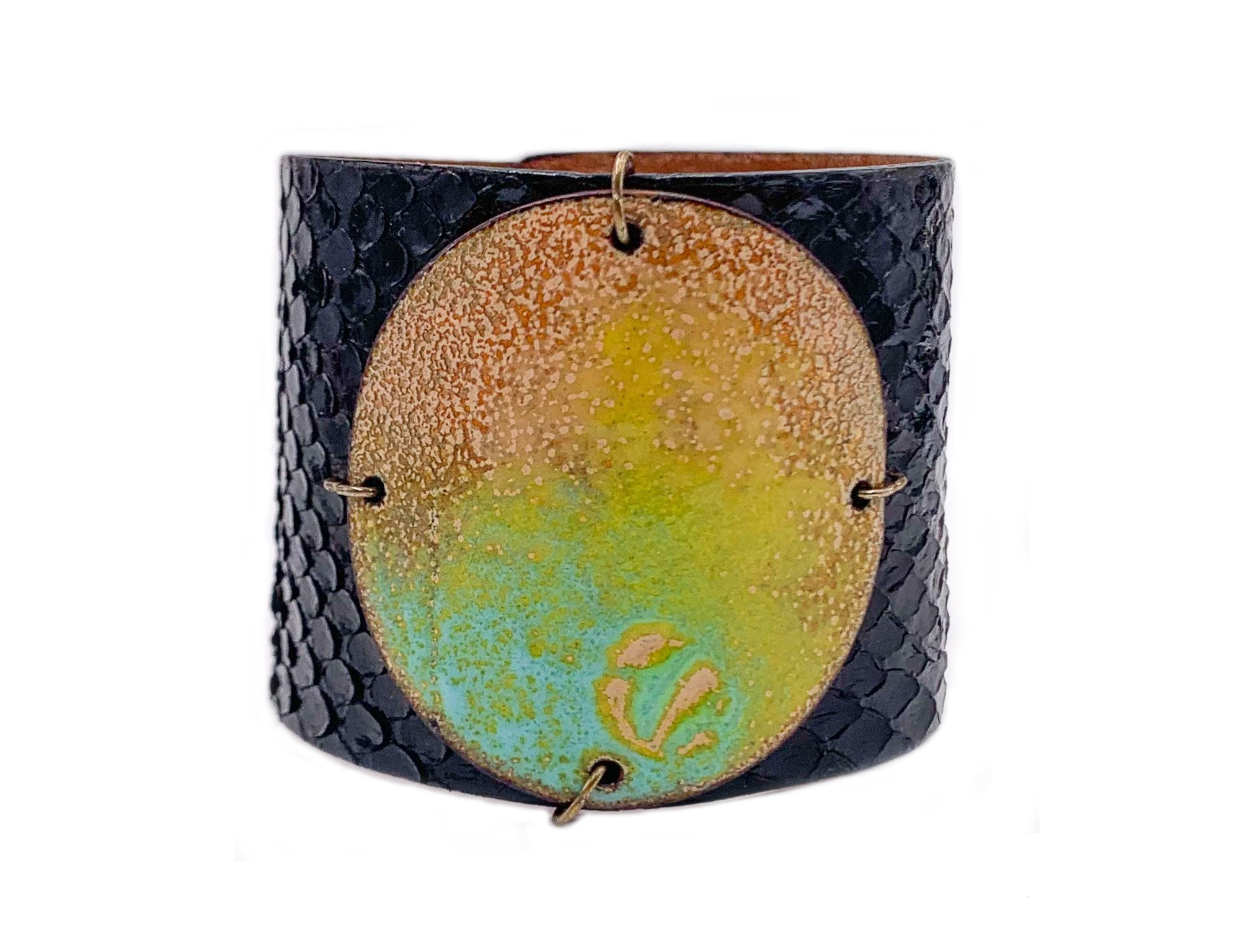 Key Lime on Black Anaconda Wide Enamel Cuff