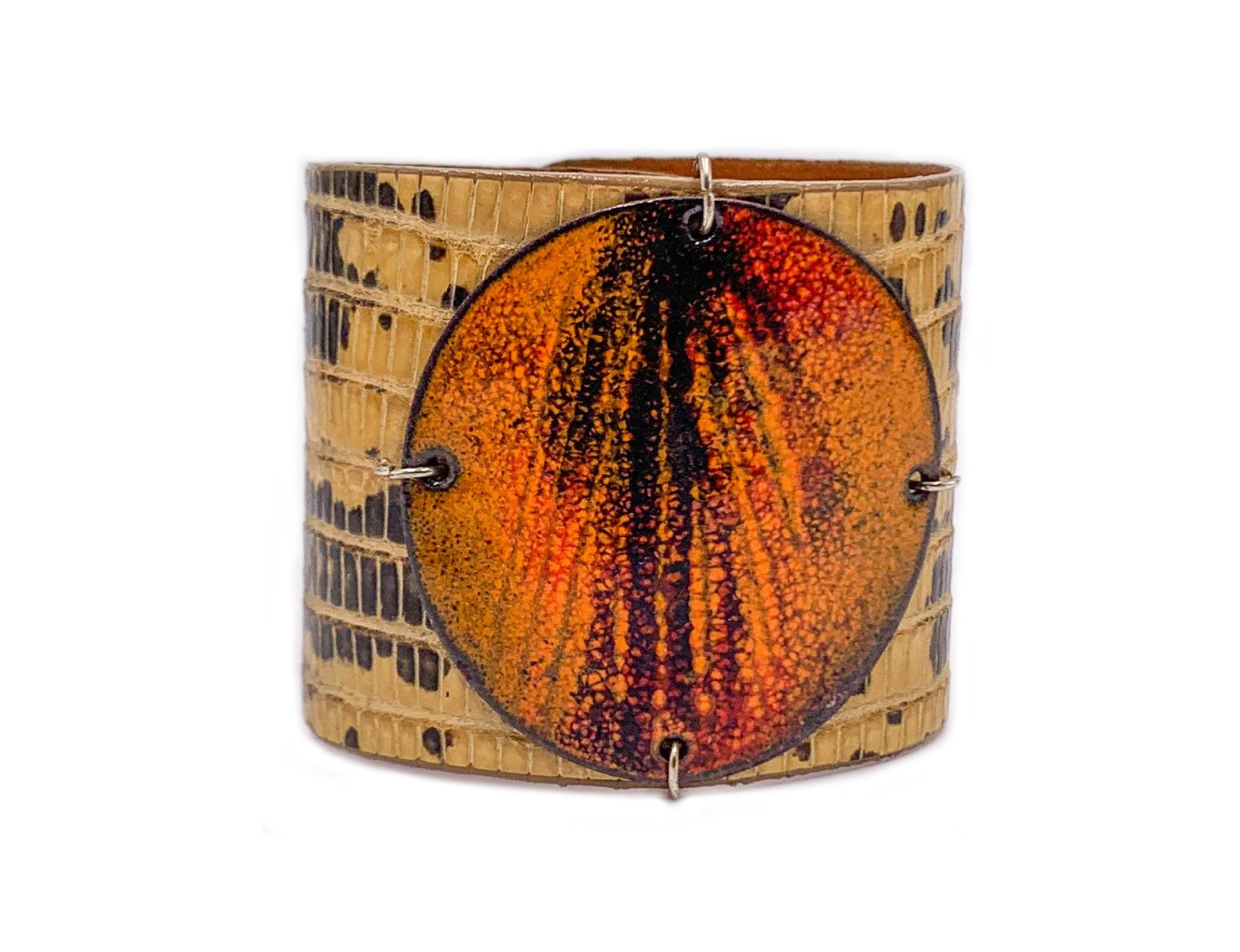 Sunset on beige marked lizard skin Wide Enamel Cuff