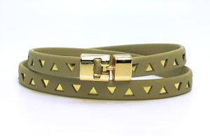 Double T-Bar Bracelet Natural and Gold Triangle Leather