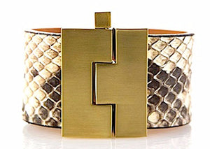 Wide Natural Python Jigsaw Cuff
