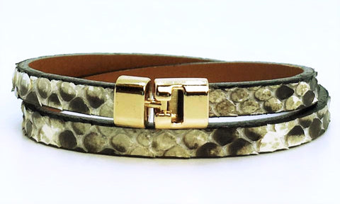 Double T-Bar Bracelet Natural Python
