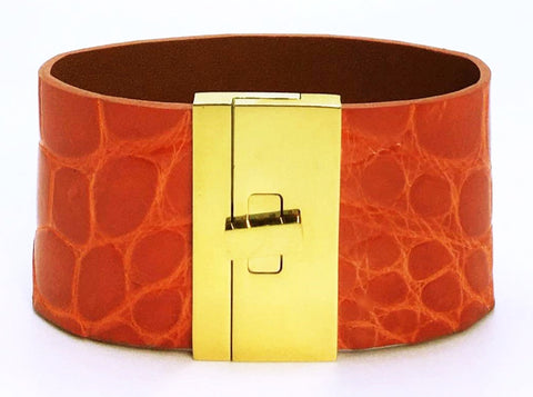 Wide Turnlock Cuff Orange Crocodile