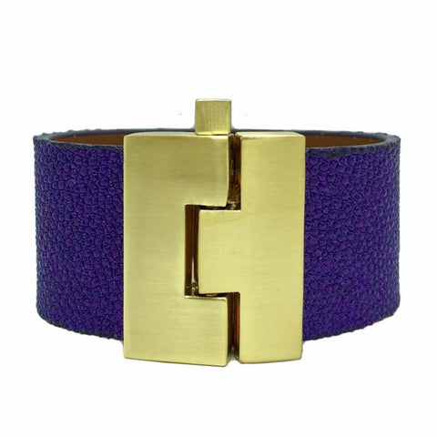 Wide Purple Glitter Stingray Jigsaw Cuff