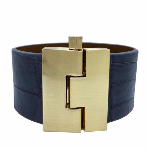 Wide Rain Alligator Jigsaw Cuff