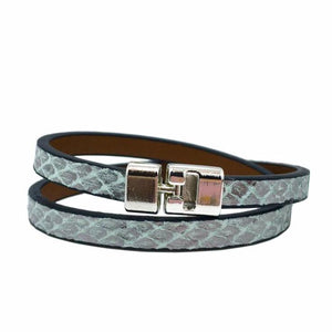 Double T-Bar Bracelet Sea Mist Python