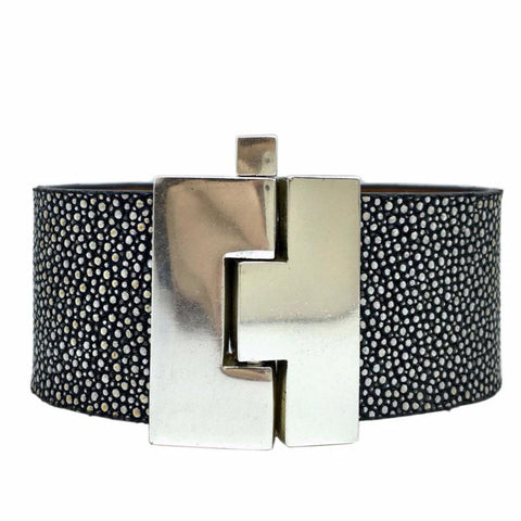 Wide Silver Hologram Stingray Jigsaw Cuff
