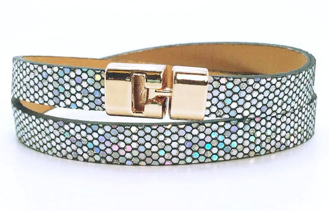 Double T-Bar Bracelet Silver Glitter Leather