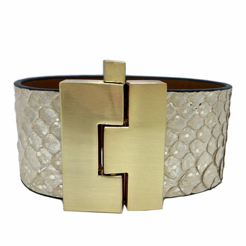 Wide Soft Gold Python Jigsaw Cuff