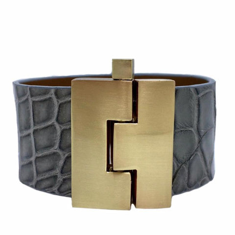 Wide Soft Gray Alligator Jigsaw Cuff