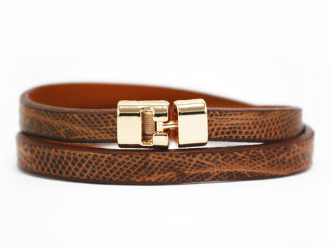 Double T-Bar Bracelet Cognac Lizard