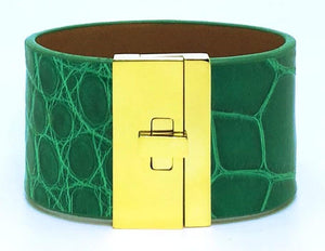 Wide Turnlock Cuff Irish Green Alligator