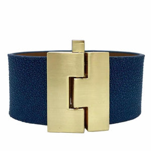 Wide Teal Stingray Jigsaw Cuff