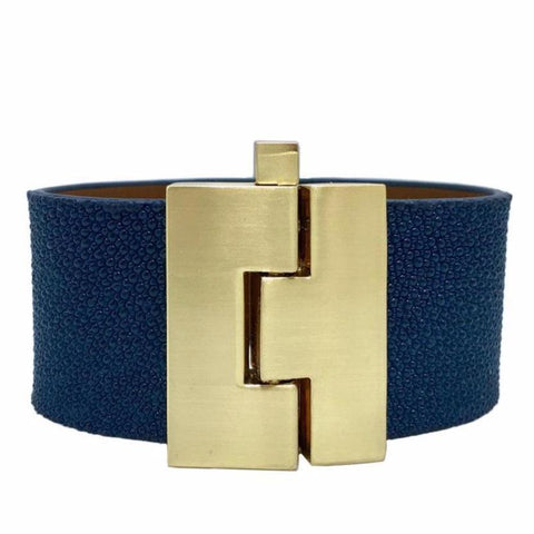 Wide Navy Stingray Jigsaw Cuff