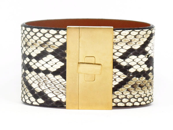Wide Turnlock Cuff Natural Python