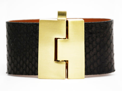 Wide Jigsaw Cuff Black Anaconda