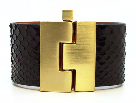 Wide Black Anaconda Jigsaw Cuff
