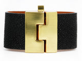 Wide Jigsaw Cuff Black Stingray