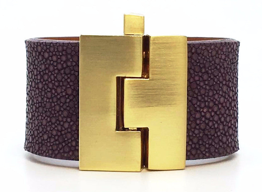 Wide Eggplant Stingray Jigsaw Cuff