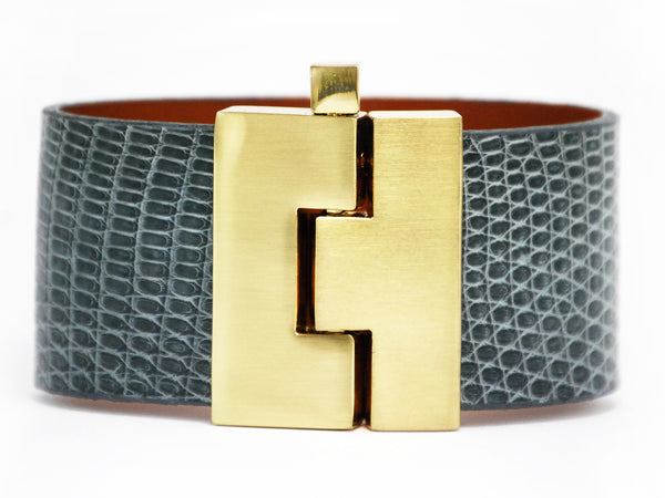 Wide Grey Lizard Jigsaw Cuff