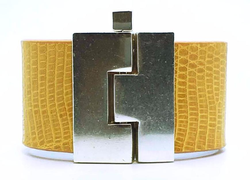SALE Wide Maize Lizard Jigsaw Cuff