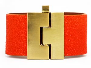 Wide Orange Natural Stingray Jigsaw Cuff